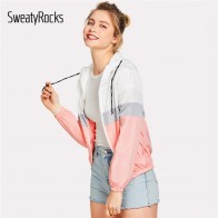 US $12.98 45% OFF|SweatyRocks Color Block Elastic Waist Drawstring Jacket 2018 New Fashion Multicolor Zipper Woman Clothing Ladies Spring Jacket-in Basic Jackets from Women