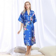 US $4.34 45% OFF|Chinese Style Women Robe Print Long Sleepwear Summer Nightgown Satin Lady Home Dress Royal Blue Home Wear Sexy Nightgown-in Robes from Underwear & Sleepwears on Aliexpress.com | Alibaba Group