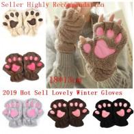 2019 Women Bear Cat Claw Paw Mitten Winter Lovely Gloves Plush Fingerless Glovers Working Safety Warm Short Finger Half Gloves-in Women