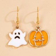 Halloween Ghost Charm Mismatched Drop Earrings - Accessories