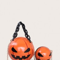 Halloween Pumpkin Decor Satchel Bag Set - Accessories