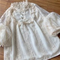 Sweet Lace Lolita Basic Shirt Vintage Puff Sleeve Ruffles Collar Lace Lady Tops Large Size Mori Undershirt Female Basic Blouse