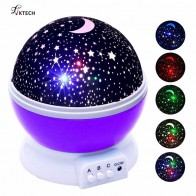 US $4.18 22% OFF|Colourful Stars Starry Sky LED Night Light Projector Moon Lamp Battery USB Bedroom Projection Lamp Children