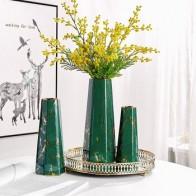 Золотисто-покрытая металлом ваза с шестигранным каменным узором керамическая ваза для цветов для дома Скандинавское современное Украшени... - Шикарные вазы