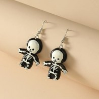 Girls Halloween Cartoon Skeleton Drop Earrings