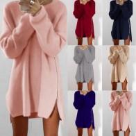 370.77 руб. 29% СКИДКА|2018 платье свитер с длинными рукавами и круглым вырезом; повседневная женская зимняя одежда с боковой молнией и асимметричным подолом; Свободный пуловер; Kardigany Damskie Wy * купить на AliExpress
