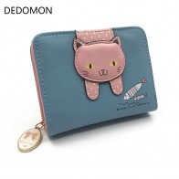 US $3.0 |Women cute cat wallet small zipper girl wallet brand designed pu leather women coin purse female card holder wallet billetera-in Wallets from Luggage & Bags on Aliexpress.com | Alibaba Group