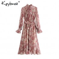 Vintage Floral Print Sashes Ruffled Pleated Dress Women 2020 Fashion Bow Tie Collar Long Sleeve Dresses Casual Vestidos Mujer