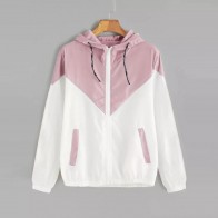 US $8.1 26% OFF|FeiTong Autumn Fashion Hooded Two Tone Windbreaker Jacket Zipper Pockets Casual Long Sleeves Feminino Coats Outwear-in Basic Jackets from Women