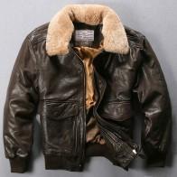 12877.02 руб. 5% СКИДКА|Avirex Fly ВВС полета куртка меховой воротник из натуральной кожи куртка Для мужчин чёрный; коричневый дубленка зимняя Курточка Бомбер мужской купить на AliExpress