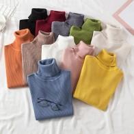 Однотонные пуловеры с высоким воротом, женские свитера, зимние винтажные женские вязаные свитера, женские корейские Повседневные свитера с длинным рукавом Kawaii-in Пуловеры from Женская одежда on AliExpress