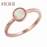 ROXI Charm Round Opal Ring Jewelry Bague Femme Rose Gold Color Engagement Ring Wedding Rings for Women Drop Shipping Size 6  9-in Rings from Jewelry & Accessories on AliExpress