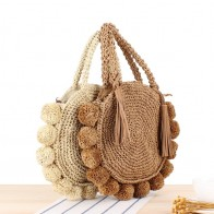 Fashion Round Straw Bags Bohemian Tassel Rattan Women Handbags Woven Crossbody Shoulder Bags Designer Ball Summer Beach Purse