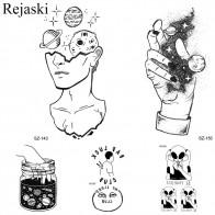 32.04 руб. |Rejaski Творческий черная наклейка тату женский боди арт планеты временная татуировка мужчины Луна водостойкие татуировки долговечные Дети Тату купить на AliExpress