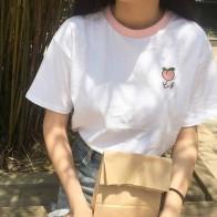 513.86 руб. 8% СКИДКА|2017 летние женские футболки с коротким рукавом из хлопка в стиле пэчворк с вышитыми фруктами купить на AliExpress