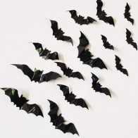 16pcs Halloween 3D Bat Wall Sticker