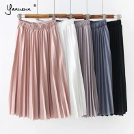 US $11.99 40% OFF|Yanueun Women Elegant Must Have Pleated Skirts High Waist Elegant Skirt Classic A Line Skirt 2019 New Spring Summer-in Skirts from Women