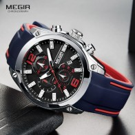 1597.45 руб. 49% СКИДКА|Megir для мужчин хронограф аналоговые кварцевые часы с датой, светящиеся руки, Водостойкий силиконовый резиновый ремешок Wristswatch для мужчин купить на AliExpress
