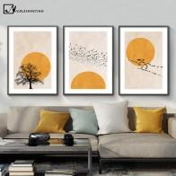 Зимнее утро солнце дерево абстрактный постер скандинавский принт скандинавский настенное искусство картина Картина на холсте простота до... - Красивые постеры в ваш дом