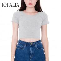 US $2.91 |Cotton Women T shirts O neck Sexy Crop Top  Short Sleeve Tops Shirt Ladies Short Stretch Basic T shirt-in T-Shirts from Women