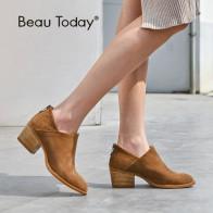 5131.85 руб. 45% СКИДКА|BeauToday/женские ботинки на высоком каблуке с круглым носком на молнии; Замшевые полусапожки ручной работы из натуральной коровьей кожи; сезон весна осень; женская обувь; 03315-in Ботильоны from Туфли on Aliexpress.com | Alibaba Group