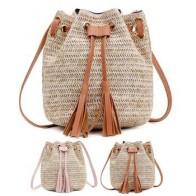 Винтажная модная Маленькая женская плетеная Сумка-ведро из ротанга, сумка-мешок с кисточками и шнурком, сумка-мессенджер через плечо, сумоч...