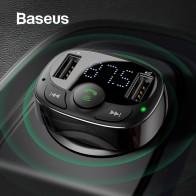 Cargador en coche Baseus Dual USB con transmisor FM Bluetooth manos libres FM modulador teléfono cargador en coche para iPhone Xiaomi HUAWEI-in Cargadores de teléfono móvil from Teléfonos celulares y telecomunicaciones on AliExpress