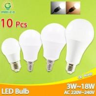 Светодиодные лампы E27 E14 с регулируемой яркостью, 10 шт., 220 В, 240 в, 20 Вт, 18 Вт, 15 Вт, 12 Вт, 9 Вт, 5 Вт, 3 Вт