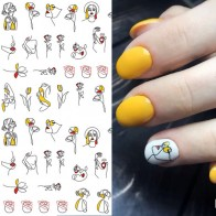 US $1.59 |1 sheet Abstract Figure 3D Nail Stickers Black Line Woman Design Nail Sticker Rose Adhesive Stickers Nail Art Tattoo Decoration-in Stickers & Decals from Beauty & Health on AliExpress - 11.11_Double 11_Singles