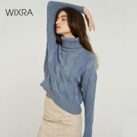 US $17.99 60% OFF|Wixra Turtleneck Sweaters 2019 Autumn Winter Solid Stylish Color Casual Ladies Knitted Women