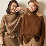 Женские кашемировые шерстяные свитеры, Повседневные пуловеры с высоким воротником, однотонные вязаные Джемперы для весны и осени, 2018 - Утепляемся: одежда для осени