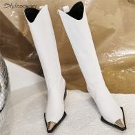 3813.58 руб. 46% СКИДКА|Stylesowner/Сапоги до колена с металлическим квадратным носком; фирменный дизайн из натуральной кожи; модные сапоги на высоком каблуке; Botas Mujer; обувь на не сужающемся книзу массивном каблуке; Zapatos Chic-in Ботинки с высокими коленями from Туфли on Aliexpress.com | Alibaba Group