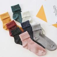 74.29 руб. 5% СКИДКА|SP & CITY зимние хлопковые однотонные блестящие Женские Простые Носки модные художественные складные женские студенческие толстые теплые носки блестящие металлические носки купить на AliExpress
