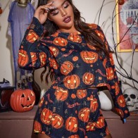Plus Halloween Pumpkin Print Pajama Set - For women