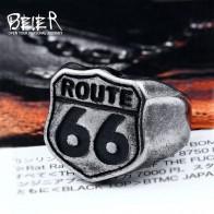 Байер 316L нержавеющая сталь под старину silve мужской моды Байкер кольцо Route 66 для мужчин Высокое качество ювелирное модное кольцо LR489 купить на AliExpress
