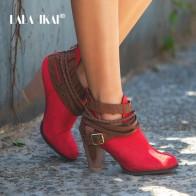 1733.51 руб. 49% СКИДКА|LALA IKAI/женские зимние ботинки из флока на молнии; вельвет с пряжкой; Узкие женские ботильоны на высоком каблуке в западном стиле; 014C2242 49-in Ботильоны from Туфли on Aliexpress.com | Alibaba Group