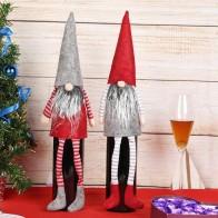 98.82 руб. 27% СКИДКА|Ручной работы Рождество гном украшения Праздничные подарки шведские статуэтки сидя длинноногий Рождественский эльф бутылка Decoretion набор купить на AliExpress
