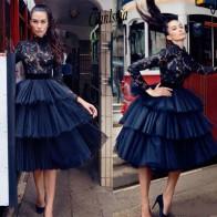 8530.64руб. 20% СКИДКА|Маленькое черное кружевное арабское готическое короткое коктейльное платье с высоким воротом и длинными рукавами Вечерние платья для выпускного вечера-in Коктейльные платья from Все для свадеб и торжеств on AliExpress - 11.11_Double 11_Singles