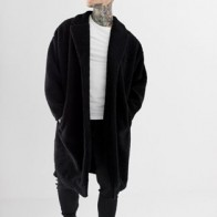 ASOS DESIGN extreme oversized borg duster jacket in black