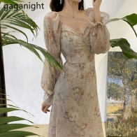 Gaganight Flower Women Elegant Maxi Dress Sexy Lady Bodycon Dresses Long Sleeve V Neck Chiffon Slim Vestidos Chic Korean Summer