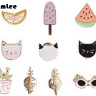 Бесплатная доставка, Милая брошь в форме фрукта, кота, солнцезащитных очков, Листьев, апельсина, мороженого, арбуза - Аксессуары до 300 руб
