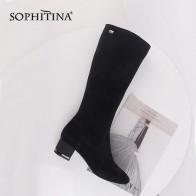 SOPHITINA cómodo del dedo del pie redondo botas de alta calidad chico de tacón cuadrado moda cremallera zapatos nuevos zapatos de mujer de la rodilla botas SC471