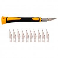 318.0 руб. 5% СКИДКА|Deluxe захвата лезвия ручка с 11 шт SK5 лезвия для резьбы по дереву инструменты еда скульптурный гравировальный нож купить на AliExpress