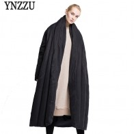 US $106.99 49% OFF|YNZZU Brand Luxury Winter Jacket Women European Style Extra Long Quilt Warm Loose Duck Down Coats Female Snow Overcoat YO374-in Down Coats from Women