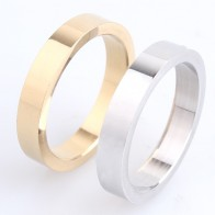 4mm thick gold silver smooth plate 316L Stainless Steel finger rings for men women wholesale-in Rings from Jewelry & Accessories on AliExpress