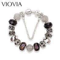 US $3.72 25% OFF|VIOVIA Fashion Vintage Jewelry Black Charm Bracelets & Bangles Silver Color European Beads Bracelets For Women Pulsera B15162-in Charm Bracelets from Jewelry & Accessories on Aliexpress.com | Alibaba Group
