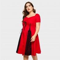 1122.51 руб. 47% СКИДКА|Винтажные женские платья из хлопка в готическом стиле, офисные женские повседневные красные Большие размеры, на молнии, плиссированные кружевные женские модные элегантные платья больших размеров-in Платья from Женская одежда on Aliexpress.com | Alibaba Group