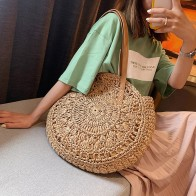 Woven Rattan Bag Round Straw Shoulder Bag Small Beach HandBags Women Hollow Handmade Messenger Crossbody Bags YJJ1