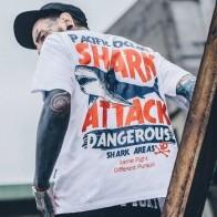 Мужская футболка с короткими рукавами Aolamegs, модная уличная креативная футболка в стиле хип-хоп с принтом большой акулы, футболки для пар - Футболки