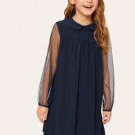 Платье со сетким рукавом и контрастным воротником для девочек